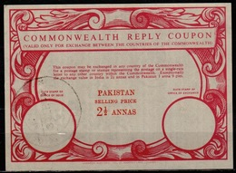 PAKISTAN Early Type IX 2 1/2 ANNAS Commonwealth Reply Coupon Reponse Antwortschein Issued LAHORE 3.9.59 - Pakistan