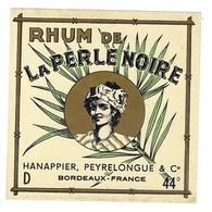 """Etiquette  Rhum De La Perle Noire  Hanappier  Peyrelonue & Cie Bordeaux 44°""""visage Femme"""" - Rhum"""