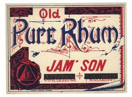 Ancienne Etiquette  Rhum  Old Pure Rhum Jameson Vve H Lejeune Malakoff - Rhum