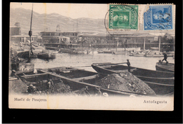 CHILE Antofogasta Muelle De Pasajeros Ca 1910 OLD POSTCARD 2 Scans - Cile