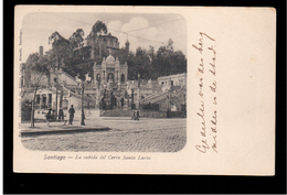 CHILE Santiago La Subida Del Cerra Santa Lucia Ca 1905 OLD POSTCARD 2 Scans - Cile