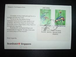 CP PUB SACNDUTCH TP OISEAUX 35c + 5c OBL.5-10-75 - Singapour (1959-...)
