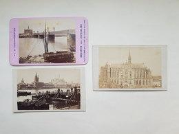 """Lot 3 Anciennes Photos De Cologne / Coln """"n°8 Die Eisenbahnbrücke In Coln"""" - Ansichten Von Deutschland"""" - 1866/1870 - Photos"""