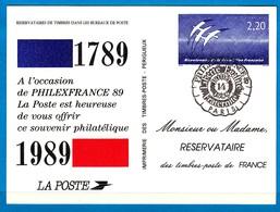 France Entiers Postaux Année  1989 Philexfrance 89 N°1017 AER Bicentenaire De La Révolution Française Lot 571 - Entiers Postaux