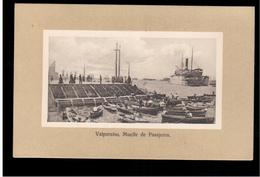 CHILE Valparaiso Muelle De Pasajeros Ca 1916 OLD POSTCARD 2 Scans - Cile