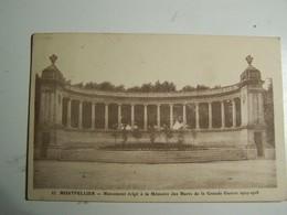 41d   MONTPELLIER Monument Erige A La Memoire Des Morts  1914/18 - Montpellier