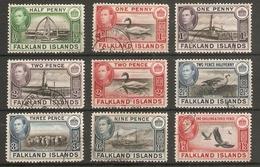 FALKLAND ISLANDS 1938 - 1950 VALUES TO 1s 3d FINE USED Cat £25+ - Falkland Islands