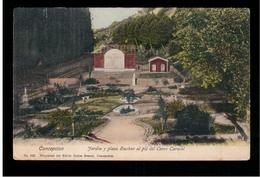 CHILE Concepcion Jardin Y Plaza Euskar Al Pie Del Cerro Caracol Ca 1915 OLD POSTCARD 2 Scans - Cile
