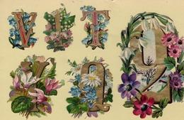 CHIFFRES Et LETTRES FLEURIS. Planche De   . H= 20 X 20  Cm - Flowers