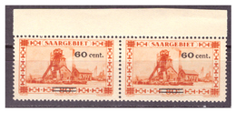SAAR/SARRE - 1930 - FRANCOBOLLO DEL 1926/1927  SOPRASTAMPATO. IN COPPIA - MH* - 1920-35 Società Delle Nazioni