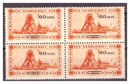 SAAR/SARRE - 1930 - FRANCOBOLLO DEL 1926/1927  SOPRASTAMPATO. IN BLOCCO DI 4-  MNH** - 1920-35 Società Delle Nazioni