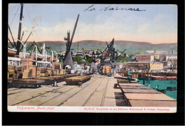 CHILE Valparaiso  Muelle Fiscal Ca 1915 OLD POSTCARD 2 Scans - Cile