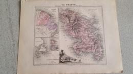 CARTE ATLAS MIGEON 1888  MARTINIQUE GUYANE TERRE NEUVE GRAVE PAR LECOCQ ET BARBIER FORMAT 35 X 27 CM - Geographical Maps