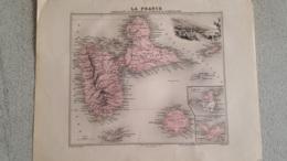 CARTE ATLAS MIGEON 1888  GUADELOUPE ST MARTIN ST BARTHELEMY GRAVE PAR LECOCQ ET BARBIER FORMAT 35 X 27 CM - Geographische Kaarten