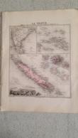 CARTE ATLAS MIGEON 1888  MARQUISES TOUAMOTOU  TAITI  NVLLE CALEDONIE GRAVE PAR LECOCQ ET BARBIER FORMAT 35 X 27 CM - Geographical Maps