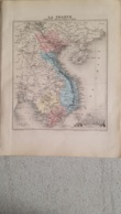 CARTE ATLAS MIGEON 1888  COCHINCHINE CAMBODGE ANNAM TONKIN  GRAVE PAR LECOCQ ET BARBIER FORMAT 35 X 27 CM - Cartes Géographiques