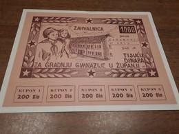 Old Document - Yugoslavia, (Zahvalnica), Coupon, Croatia, Županja - Monnaies & Billets