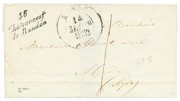 LOZERE : 1852 Cursive 46 CHATEAUNEUF DE RANDON + Taxe 1 Sur Lettre Pour MENDE. TTB. - Poststempel (Briefe)