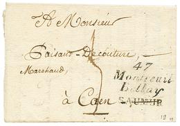 MAINE ET LOIRE : 1825 Double Cursive 47 MONTREUIL/BELLAY/SAUMUR. Indice 19. TTB. - Poststempel (Briefe)