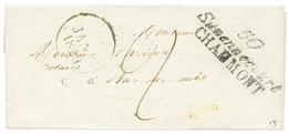 HTE MARNE : 1823 Double Cursive 50 SUZENNCOURT/CHAUMONT + Taxe 2. Indice 18. TTB. - Poststempel (Briefe)