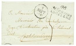 PYRENEES ORIENTALES : 1828 Double Cursive 65 ST SAUVEUR/ ARGELLEZ. Indice 18. TTB. - Poststempel (Briefe)