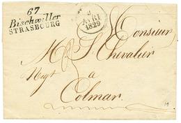 BAS-RHIN : 1829 Double Cursive 67 BISCHWILLER/STRASBOURG. Indice 19. Superbe. - Poststempel (Briefe)