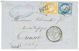 SAONE ET LOIRE : 1875 CERES 15c + 25c Obl. GC 1632 + T.24 MARTIGNY LE COMTE Sur Lettre. Cote 700€++. Superbe. - Poststempel (Briefe)