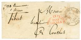 1842 T.12 COUCHES + SAISI EN FRAUDE/TAXE/ DOUBLE Rouge Sur Lettre De CHATEAU CHINON. Superbe. - Poststempel (Briefe)