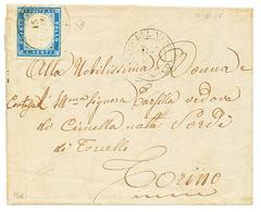 """S. MARTINO DEL VARO - ST MARTIN DU VAR"" : 1856 SARDAIGNE 20c(n°15d) Obl. S.MARTINO DEL VARO Sur Lettre Pour TORINO. RAR - Poststempel (Briefe)"