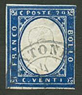 MONACO : SARDAIGNE 20c(n°12) Pd Obl. Cachet Sarde MENTONE. RARE. TB. - Poststempel (Briefe)