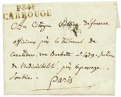 """CARROUGE : An 6 P.84.P CARROUGE Sur Lettre Avec Texte Daté """"THONON"""". Superbe. - Poststempel (Briefe)"""