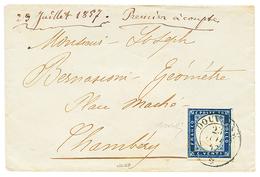 DOUVAINE : 1857 SARDAIGNE 20c TB Margé Obl. Cachet Sarde DOUVAINE Pour CHAMBERY. Signé BOLAFFI. TB. - Poststempel (Briefe)