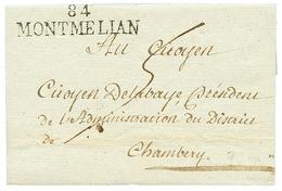 """MONTMELIAN : An 2 84 MONTMELIAN Avec Texte Daté """"PLANAIS"""". Superbe. - Poststempel (Briefe)"""
