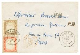1858 SARDAIGNE 10c + 40c TB Margés Obl. S. JULIEN Sur Enveloppe Pour PARIS. Superbe. - Poststempel (Briefe)