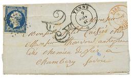 SAVOIE : 1856 20c(n°14) Léger Pli Obl. PC 358 + Cachet Sarde YENNE + Taxe 25 D.T + SARD. BELLEY Sur Lettre Avec Texte De - Poststempel (Briefe)