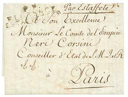 1813 Cachet Rare P.P / FLORENCE / ESTAFFETTE Sur Lettre Avec Texte Pour Mr CORSINI à PARIS. TTB. - Poststempel (Briefe)