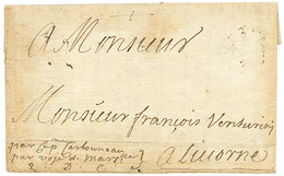 """PALESTINE : 1689 Entire Letter (text In French Language) Datelined """"ACRE 24 8bre 1689"""" To LIVORNO (ITALY). Rare So Early - Palestine"""