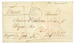 """""""JERUSALEM Via BEYROUTH"""" : 1848 BEUROUTH SYRIE + """"18"""" Tax Marking On Envelope With Full Text Datelined """"JERUSALEM"""" To FR - Palestine"""