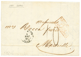 """""""JAFFA Via BEYROUTH"""" : 1848 BEYROUTH SYRIE + """"10"""" Tax Marking On Entire Letter With Full Text Datelined """"JAFFA"""" To FRANC - Palestine"""