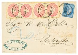 PALESTINE - AUSTRIAN POST OFFICE : 1864 5 SOLDI (x4) Canc. CAIFA + GREECE 20l(fault) On Cover To PATRASSO (GREECE). Extr - Palestine