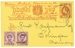 1895 P./Stat + Provisional 1A On 64 + 2A On 64 Canc. BANGKOK To GERMANY. Superb. - Siam