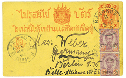 SIAM : 1899 P./Stat + 2a On 64a(x2) Canc. BANGKOK To GERMANY. Vvf. - Siam