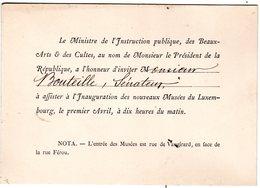 """1882 """" Ministère Instruction Publique Et Des Beaux Arts """" Carton Invitation Au Sénateur BOUTEILLE Inauguration Musée - Postmark Collection (Covers)"""