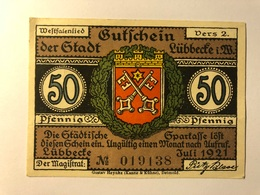Allemagne Notgeld Lubbecke 50 Pfennig - [ 3] 1918-1933 : République De Weimar