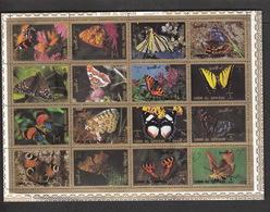 Ver. Arab. Emirate Umm Al Qiwain 1972 Gestempelt Mi.1498-1513 A Klbg. Schmetterlinge Butterflies - Umm Al-Qaiwain