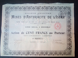 Lot 2 Mines D'Anthracite De L'ISERE 1908 Grenoble + Coupons - Shareholdings