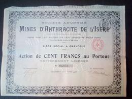 Lot 2 Mines D'Anthracite De L'ISERE 1908 Grenoble + Coupons - Aandelen