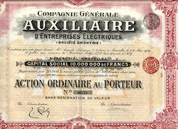 Générale AUXILIAIRE D'ENTREPRISES ÉLECTRIQUES; Action - Electricité & Gaz