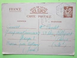 CARTE POSTALE Entier Iris Oblitérée 24 Mars 1941 à BESAIN Par CROTENAY>>Paris 20è - Carte Réservée à La Correspondance>> - France
