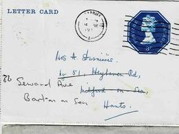 Entier 3 Pence Sur Letter-card De Cardiff Pour Barton On Sea - Entiers Postaux